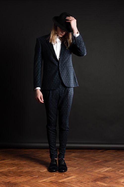MAISON LVCHINO FW 14/15  Blue & Grey Pois Suit