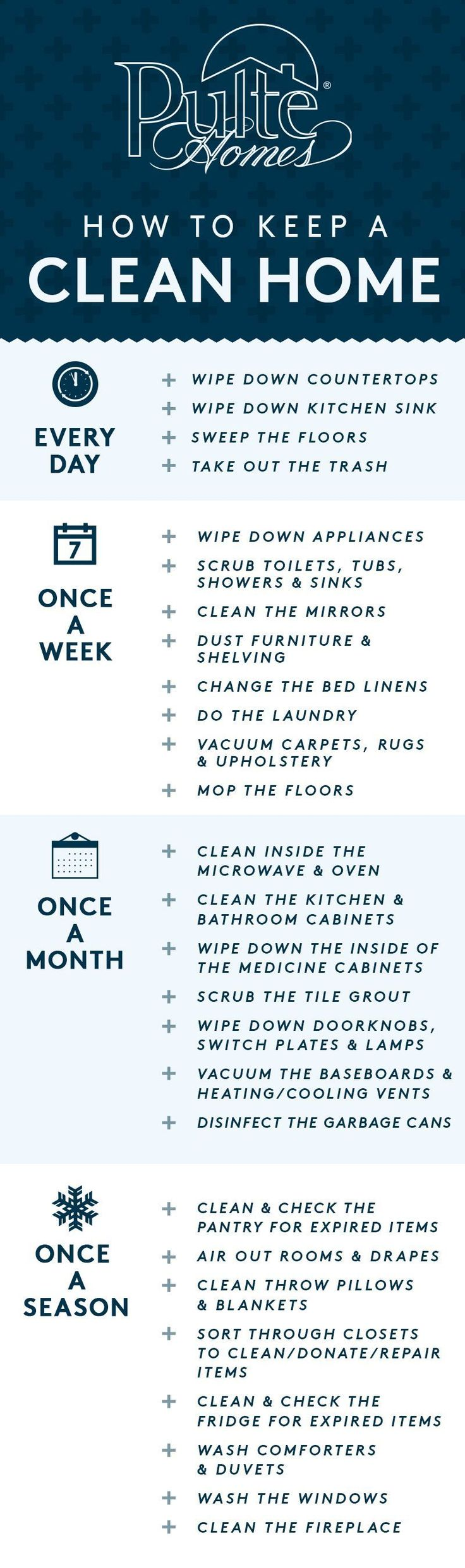 With the holidays around the corner, it's time to make sure your home is in guest-ready condition! Keep your house sparkling with these easy tips on how often to clean each corner of your home. PIN now and use later as your go-to checklist! | Pulte Homes #cluttertoclean