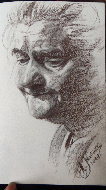 Portrait of Grandmother. Agata Kaszuba.Sepia on paper, 2017