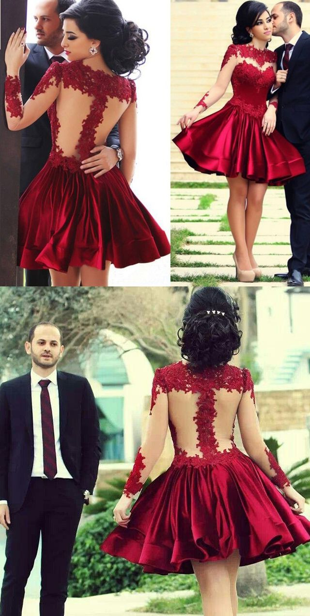 20f702df6e7 Gorgeous Long Sleeves Illusion Red Mini Prom Homecoming Dress Lace Wedding  Party Dress Elegant Prom Gown