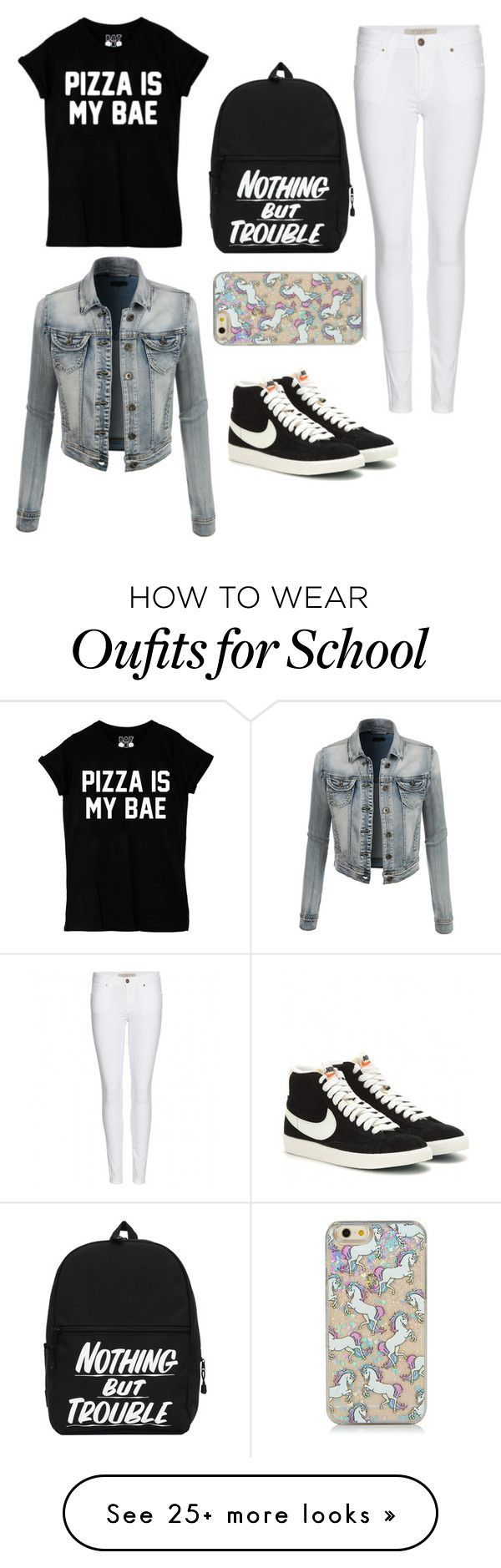 School by aprilgals on Polyvore featuring LE3NO, Burberry and NIKE