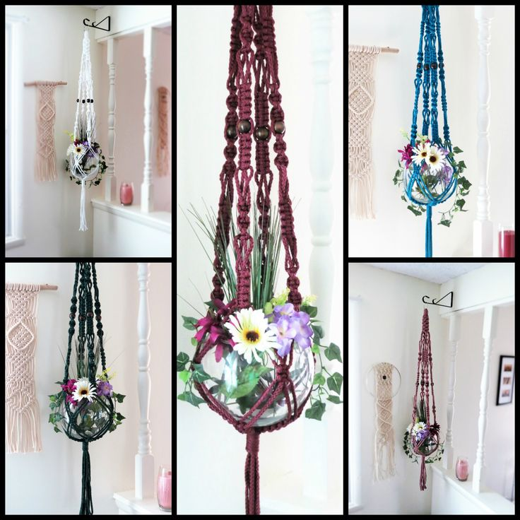 Bohemian macrame plant hangers large macrame hanging for Colorful hanging planters