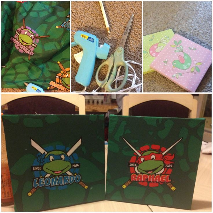 Made my son his own ninja turtle room decor :) bed sheet, old canvases, hot glue gun and scissor. Super east and looks great !