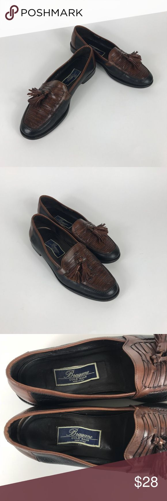 Men's Cole Haan Bragano Italy Weave loafer 8.5 D Pre owned Cole Haan Bragano Tassel Loafers! Size 8 1/2D Two tone Brown and Black. These have been loved for a while but it's time to let someone else enjoy them. The inside sole/foot bed is coming loose so we are letting these go cheap! You can this in the last pic. Get these high end Cole Haan's at a fraction of the new price.   Thanks for looking and please be sure to check out our other Cole Haan dress shoes! Cole Haan Shoes Loafers…
