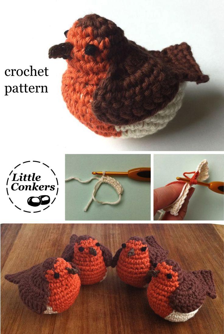 Crochet Robin Pattern by Little Conkers                                                                                                                                                                                 More