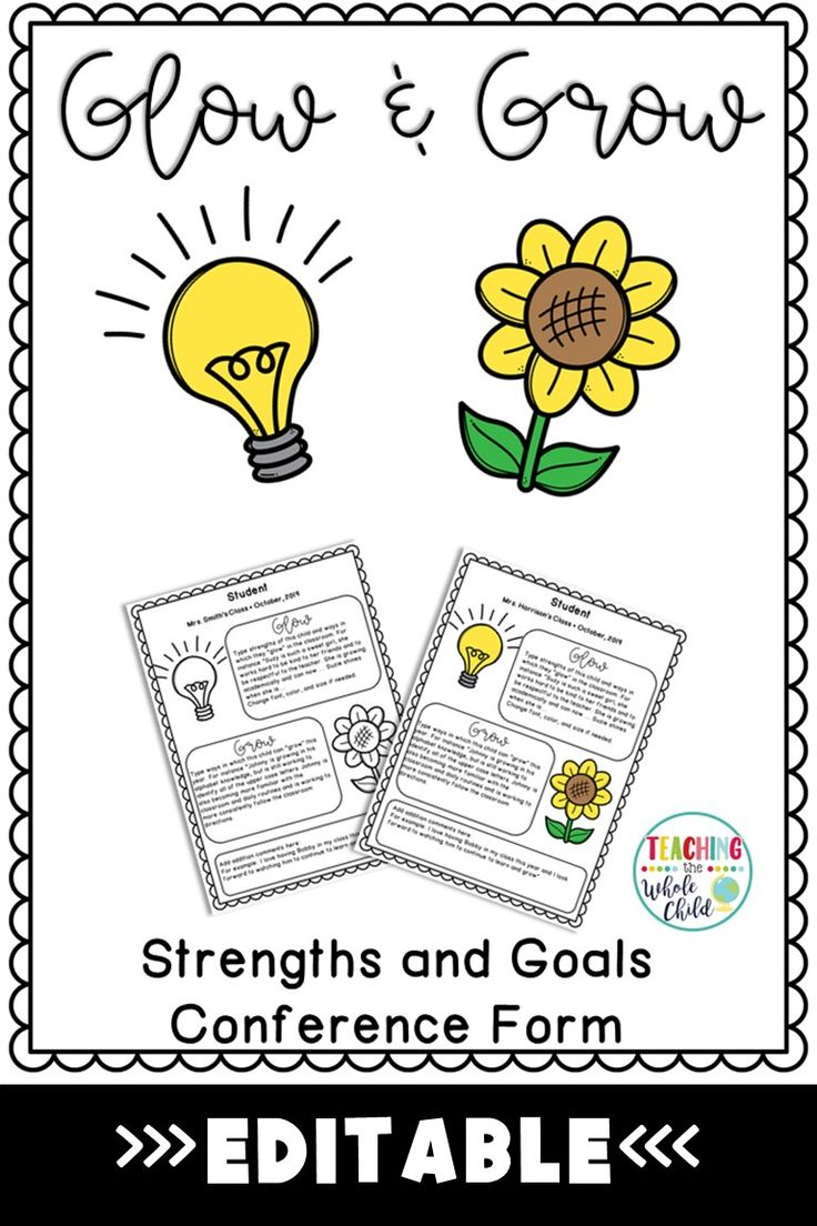Glow And Grow Parent Teacher Conference Form Editable Parent Teacher Conference Forms Parents As Teachers Parent Teacher Conferences