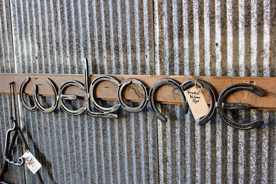 Horse Shoe Welcome sign Made by Mike Hill Artist by ArtinIron, $125.00
