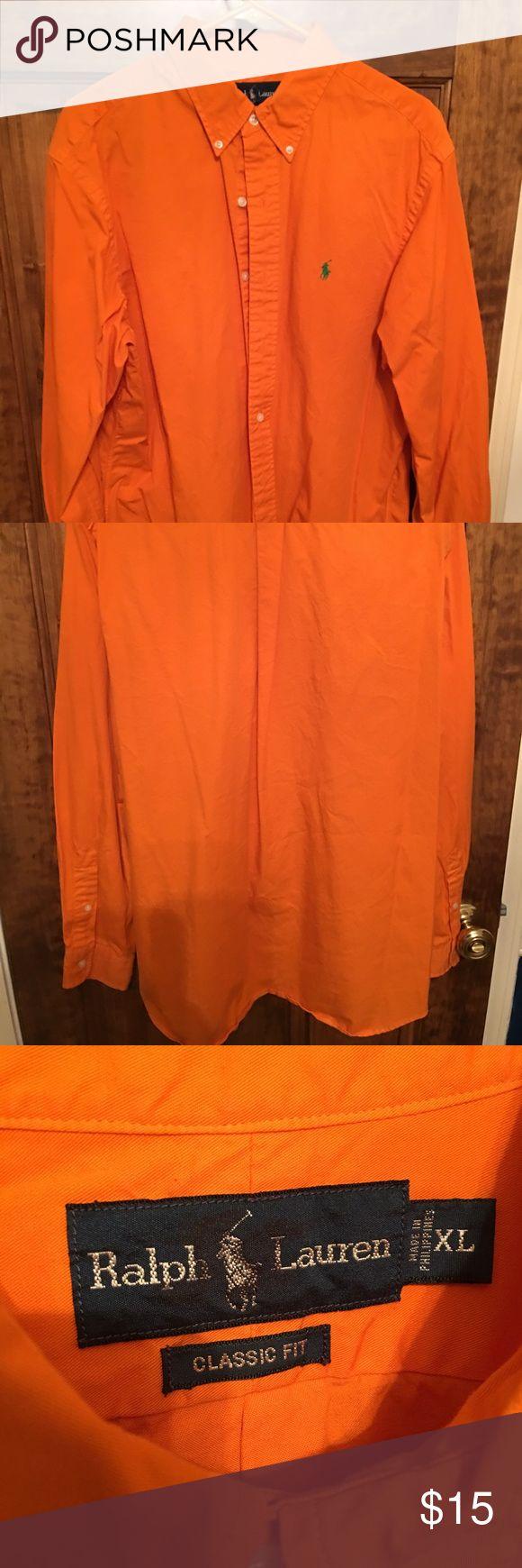 Long sleeve polo button down Orange long sleeve polo button down shirt. Size XL Polo by Ralph Lauren Shirts Casual Button Down Shirts