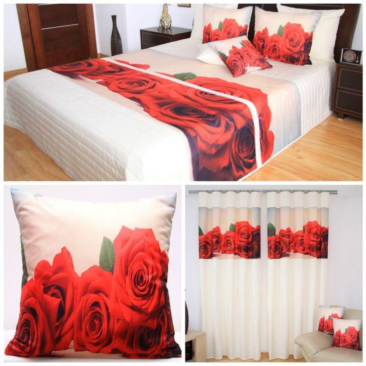 Zestaw dekoracyjny kremowy do sypialni w czerwone róże