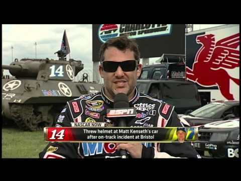"""ESPN's """"NASCAR NOW"""" (8/28/12): Nicole Briscoe talks with Tony Stewart about his helmet toss at Matt Kenseth's car and their history of competing on the track. Matt Kenseth also weighs in."""