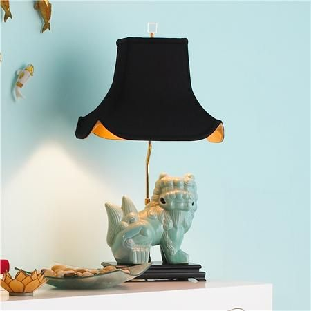 Chic Turquoise Foo Dog Table Lamp