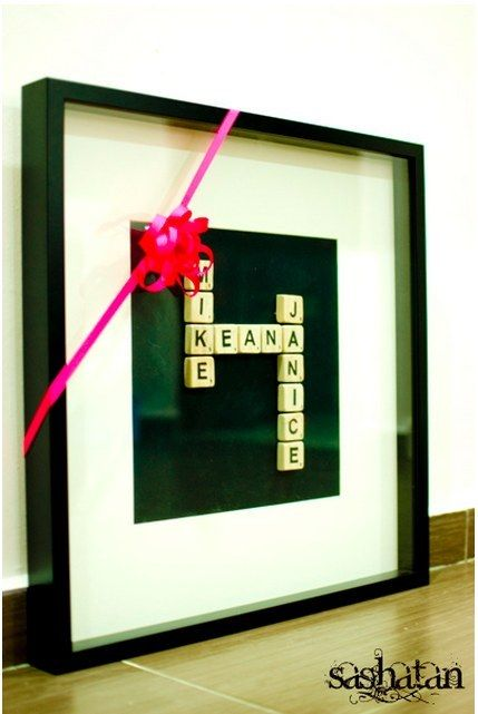 Or their names: | 14 Easy And Inexpensive Wedding Gift Ideas - You can buy a pack of 100 Scrabble tiles starting at $4.99 on Amazon. Learn how to piece them all together here.