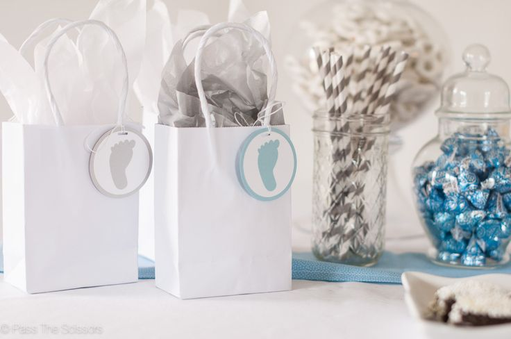 Baby Boy Shower Party Favor Tags in Light Blue & Gray - Footprint
