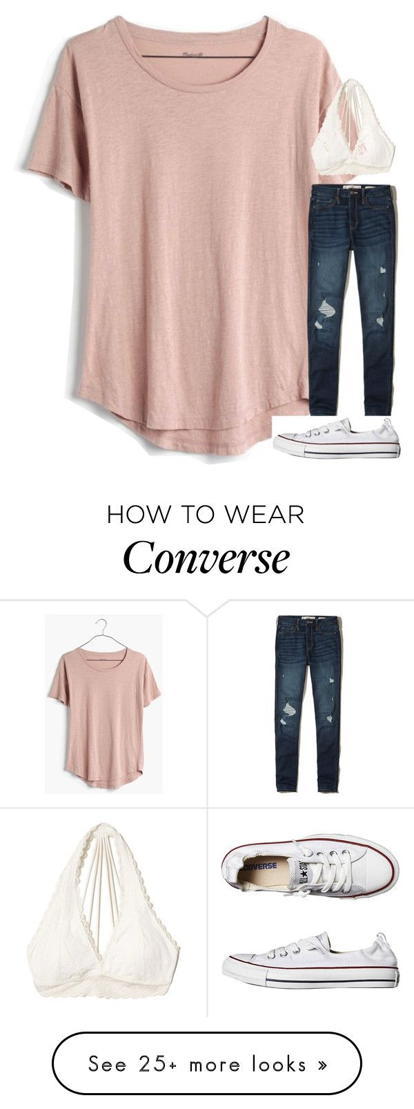 """""""Untitled #6517"""" by laurenatria11 on Polyvore featuring Madewell, Hollister Co. and Converse"""