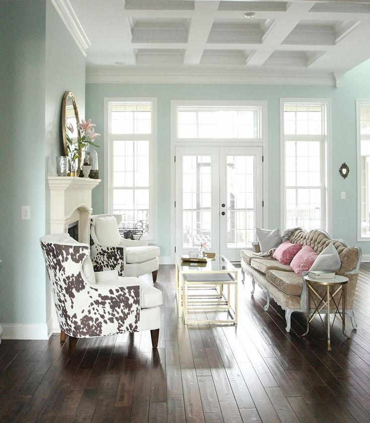 Wall color in this room is Sherwin-Williams' Rainwashed School Room and upstairs kids bathroom