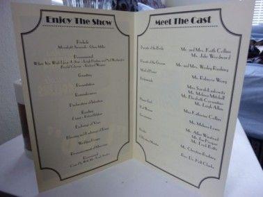 DIY Programs for our Vintage Movie Themed Wedding :  wedding black diy ivory movie program theater ProgramInner