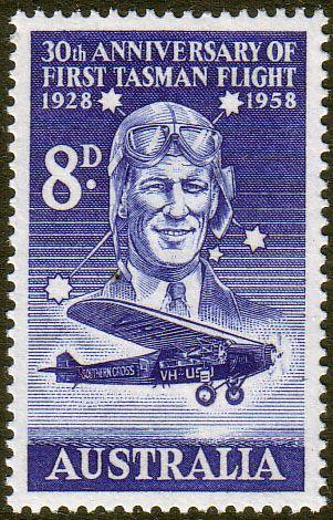 Australia 1957 SG 304 First Tasman Flight Plane Fine Mint SG 304 Scott 310 Other Australian Stamps HERE