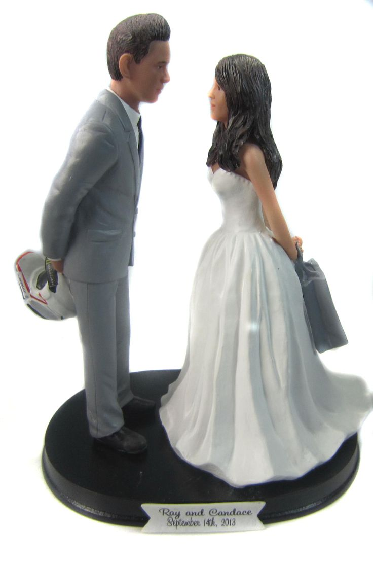 Dirt Bike Rider And Shopaholic Wedding Cake Topper Customized To Look Like