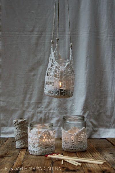 crochet candle holder