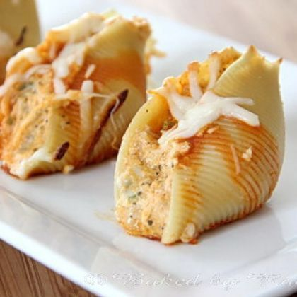 Buffalo Chicken Stuffed Shells from bakedbyrachel.com