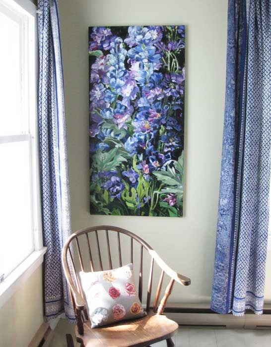 """A client said to me one day """"I wish I had a big tall painting of beautiful blue delphiniums for my bedroom in the country.  I can even see it in my mind"""" ... Well, her wish came true.  Read about in on my brand new cool BLOG.  Just click on the image."""