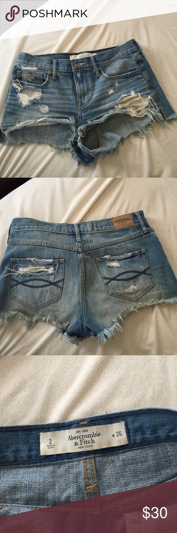 Abercrombie & Fitch high rise ripped shorts High waisted ripped jean shorts. The pockets do come out of the shirts when worn. So practical for summer! Abercrombie & Fitch Shorts Jean Shorts
