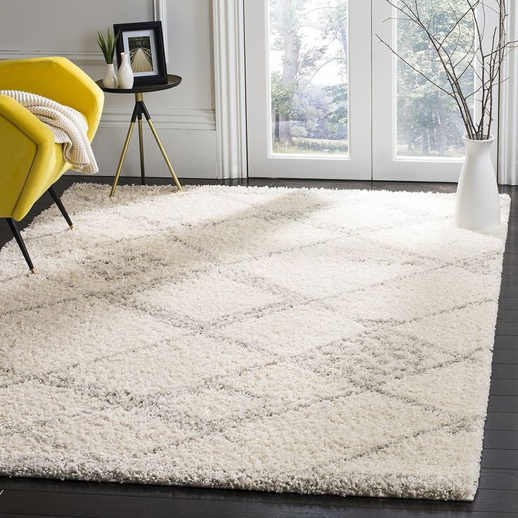 "Amazon.com: Safavieh ASG751G-7 Arizona Shag Collection Area Rug, 6'7"" x 9'2"", Ivory: Patio, Lawn & Garden"