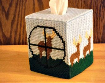 Tissue Box Cover Hunters, Plastic Canvas, Boys Room Decor, Shooting Target Deer, Deer Hunting Decor, Deer Hunting Party, gifts for hunters