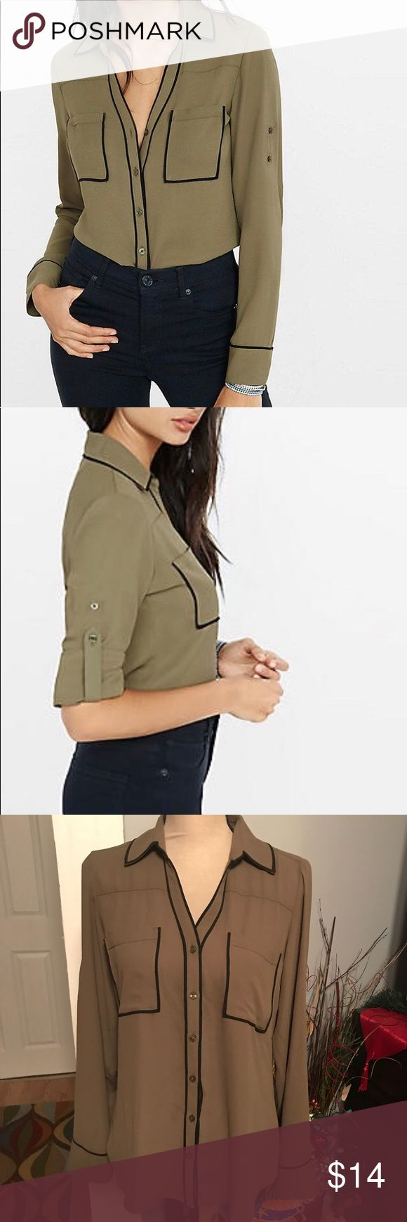 Slim Fit Olive Contrast Piping Portofino Shirt Style # 9792223C This elegant, slim fit olive blouse with contrast piping has a classic look. Its distinctive architectural detail in luxe, semi-sheer crepe gives it an effortlessly sexy style. Slim fit Point collar, notch neckline, button front Long convertible sleeves with roll tabs Patch breast pockets, shirttail hem Contrasting piping at collar, placket, pockets & cuffs Polyester; Machine wash Imported Express Tops Button Down Shirts