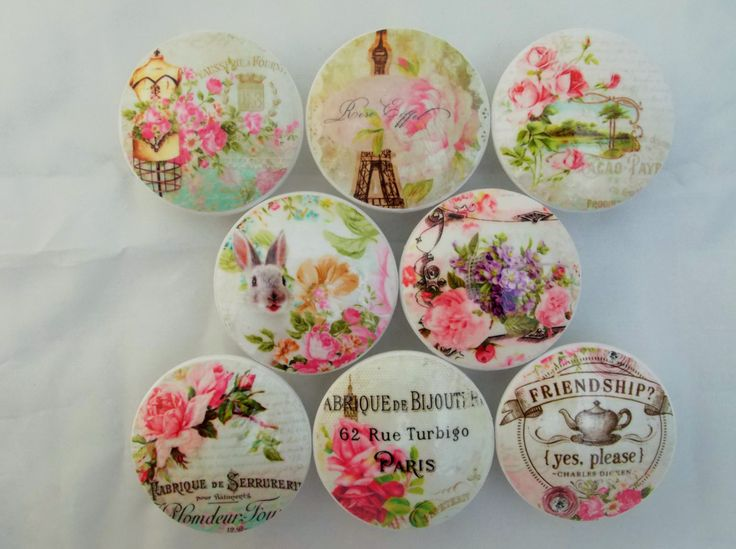 Nice Set Of 8 Shabby Pastel Pink Paris Oversized Cabinet Knobs