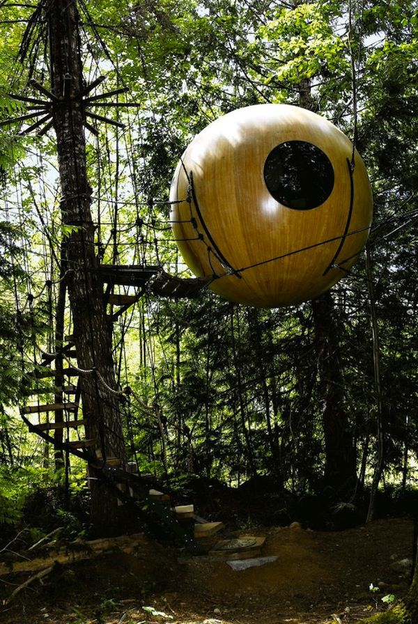 Free Spirit Spheres, British Colombia Canada.  Talk about a different kind of hotel room. #GILOVEBC