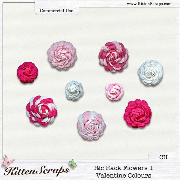 Ric Rack Flowers 1-Valentine Colours {CU} CU Product by KittenScraps, Digital Scrapbooking,