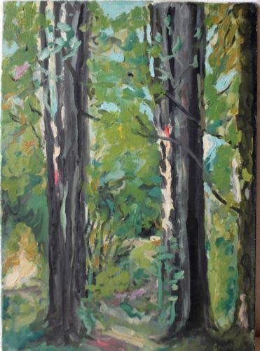 Vintage-Oil-Painting-On-Canvas-034-Greek-Forest-Landscape-034-Costas-Laskaris-Signed