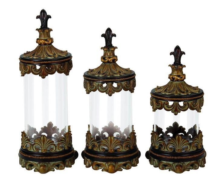 Antiqued Bronze Finish Glass Canister Set   Set Of 3