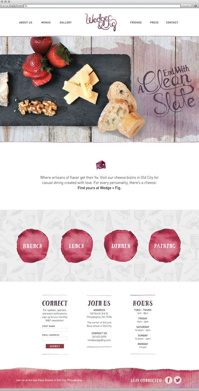 Wedge & Fig brand identity design watercolor brand identity used in website