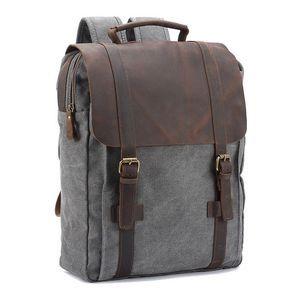 QINCAO Unisex Multifunktionsrucksack Canvas und Leder Rucksack Laptop Rucksack Uni Rucksack Schulrucksack (Grau): Amazon.de: Koffer, Rucksäcke & Taschen