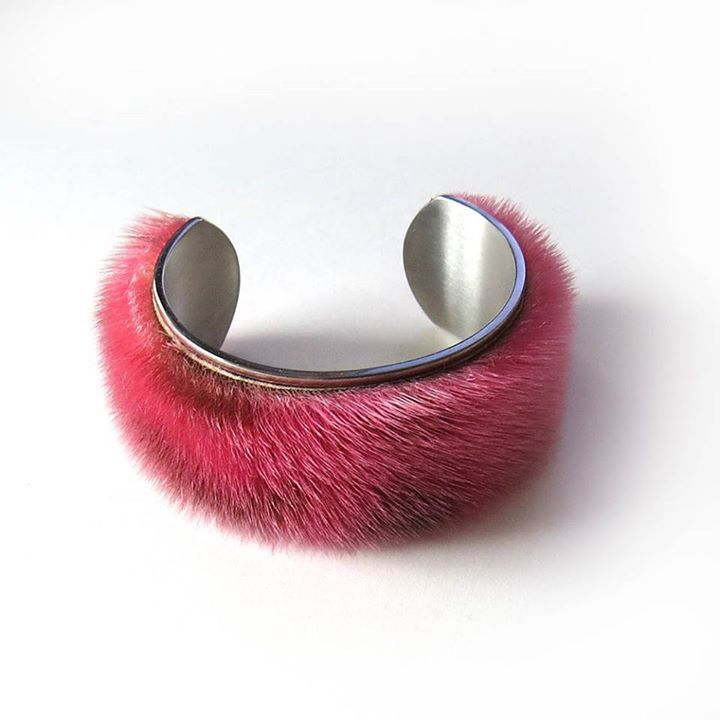 Hand-Dyed Sealskin Cuff on Stainless Steel :: by tundraberry