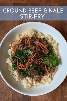 Ready in less than 30 minutes, Ground Beef and Kale Stir-Fry makes a simple yet nutritious weeknight meal.