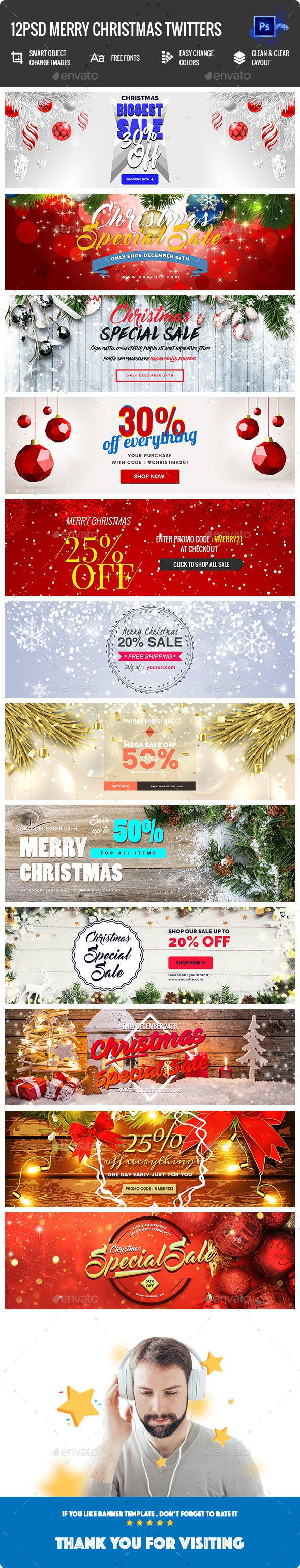Merry Christmas Twitter Header  12PSD — Photoshop PSD #greeting card #shopping • Available here ➝ https://graphicriver.net/item/merry-christmas-twitter-header-12psd/21107626?ref=pxcr