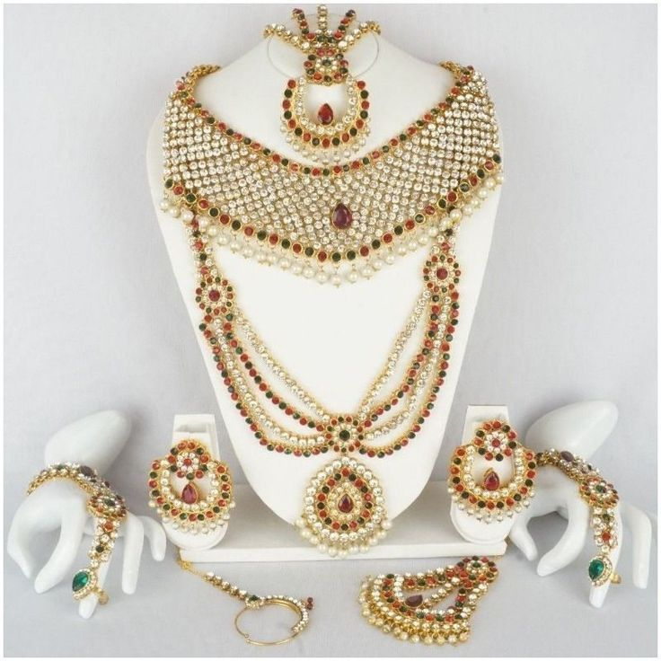 Indian Bollywood Diamante Kundan Gold Tone Bridal Necklace Fashion Jewelry Set #Handmade