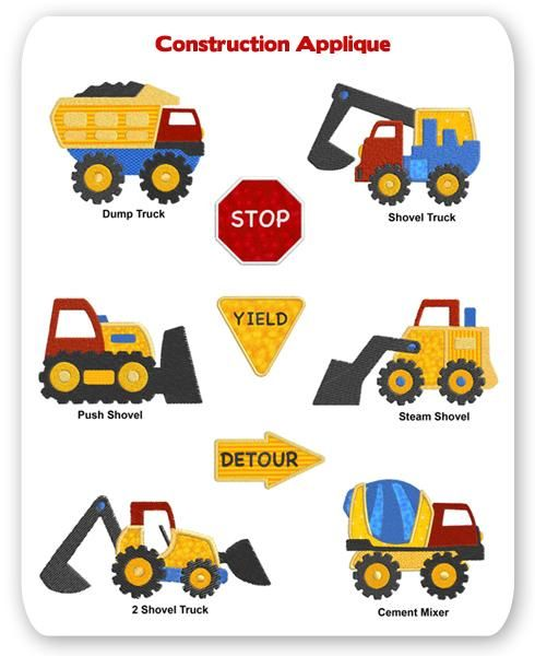 Construction Trucks Embroidery Applique Designs Dump Cement Mixer Steam Shovel