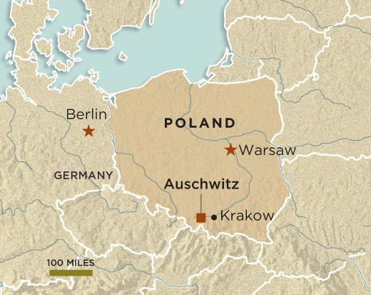 Where Aushwitz Concentration Camp is. In Southern Part of Poland near Krakow and between Krakow and Warsaw, Poland.