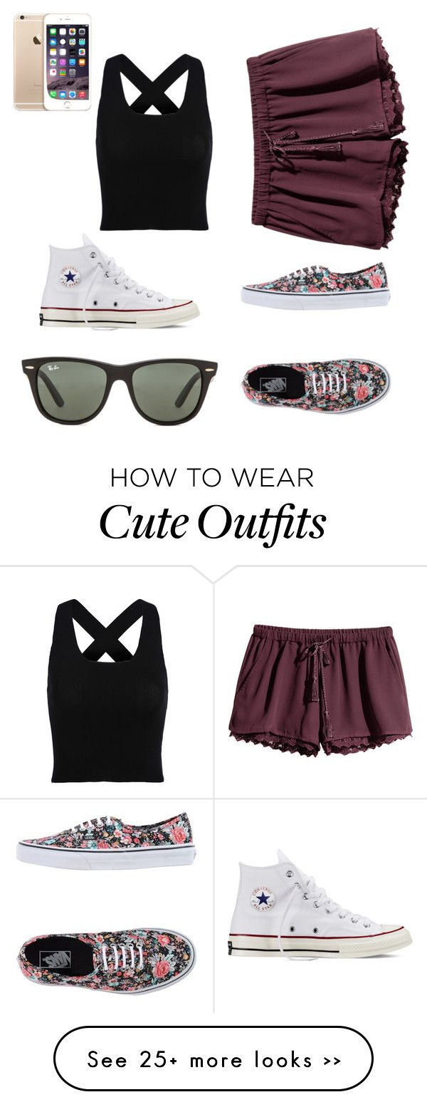 """""""Cute outfit:)"""" by savannah-mottl on Polyvore featuring Converse, Ray-Ban, H&M and Vans"""