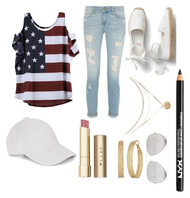 """""""in love with USA"""" by izzyfifteen on Polyvore featuring Le Amonie, Stila, NYX, Sunny Rebel and GUESS"""