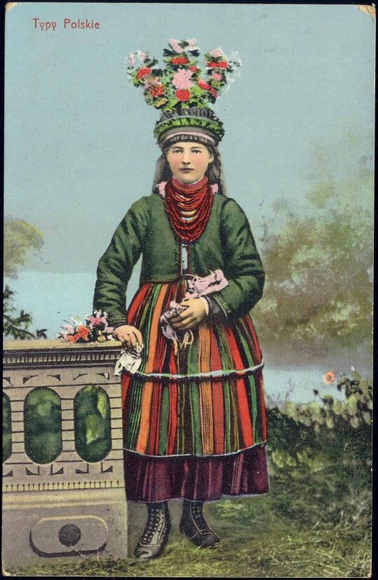 Poland - vintage postcard: bride from Łowicz