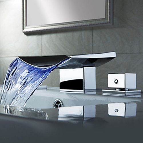 Color Changing LED Waterfall Widespread Bathroom Sink Faucet (Chrome Finish)– FaucetSuperDeal.com