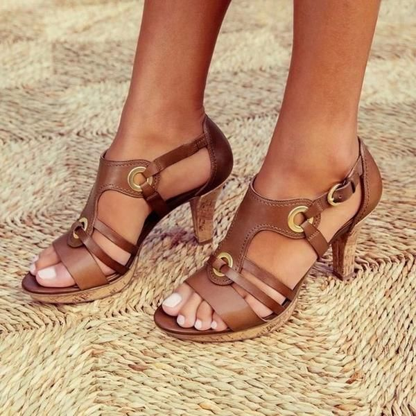 Keyla Damskie Letnie Gladiatorki Z Obcasem I Metalowymi Pierscieniam Zofia Sandals Heels Chunky Heels Sandals Fashion Shoes Flats