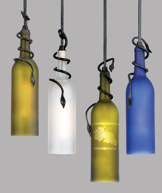 wine bottles as lights
