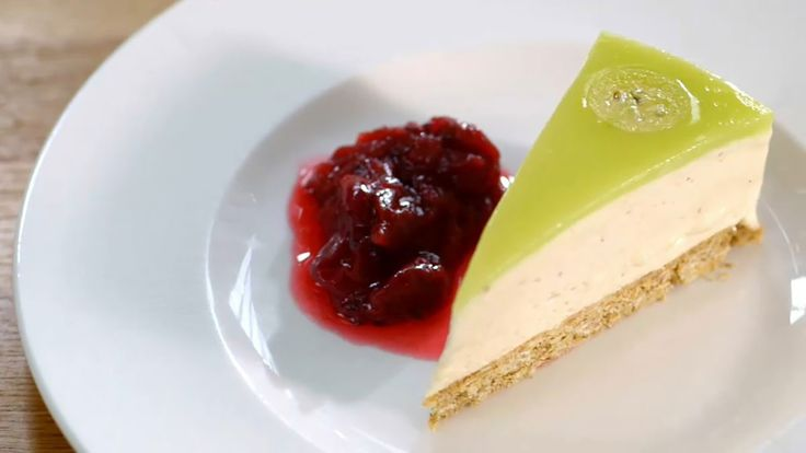 Green gooseberry jelly cheesecake with red gooseberry compote - Royal Gardens On A Plate.