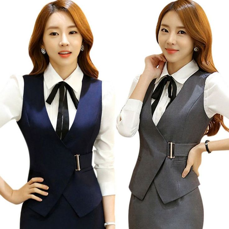 Women Formal Vest V-Neck Waistcoat Office Bank Uniform Slim Sleeveless Workwear